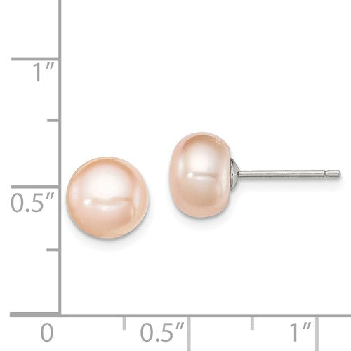 Sterling Silver 8mm Pink Cultured Button Pearl Stud Earrings