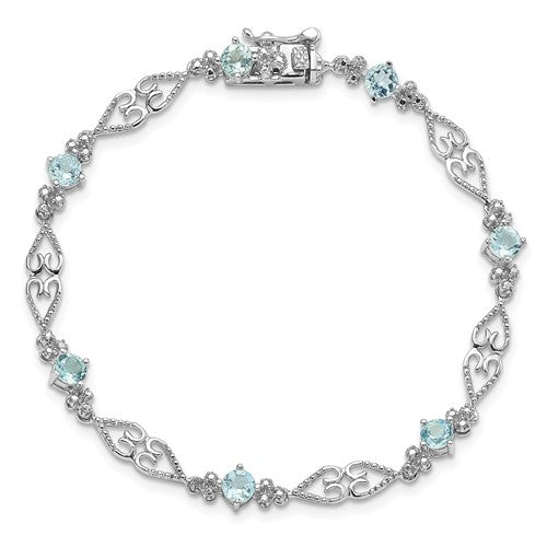 Sterling Silver Diamond Aquamarine Bracelet