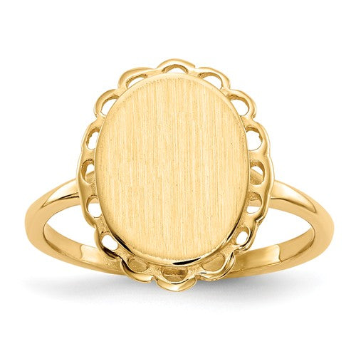 Oval Flower Closed Back Personalized Signet Ring