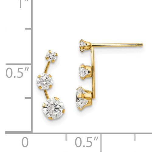 14k Yellow Gold Curved 3-Stone Post Earrings