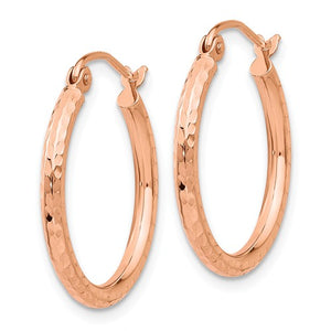 14k Rose Gold Diamond-Cut Polished Hoop Earrings