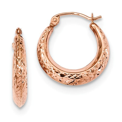 14k Rose Gold Polished 2mm Lightweight Tube Hoop Earrings
