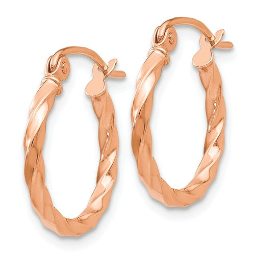 14k Rose Gold 16mm Twisted Hoop Earrings