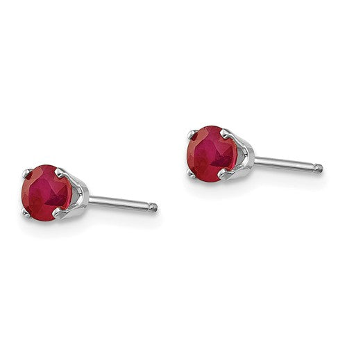 14k White Gold 4mm Ruby Stud Earrings