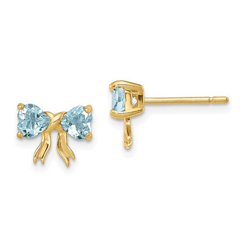 14K Aquamarine Bow Post Earrings