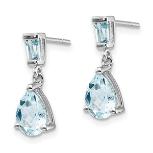 14K Aquamarine Dangle Earrings