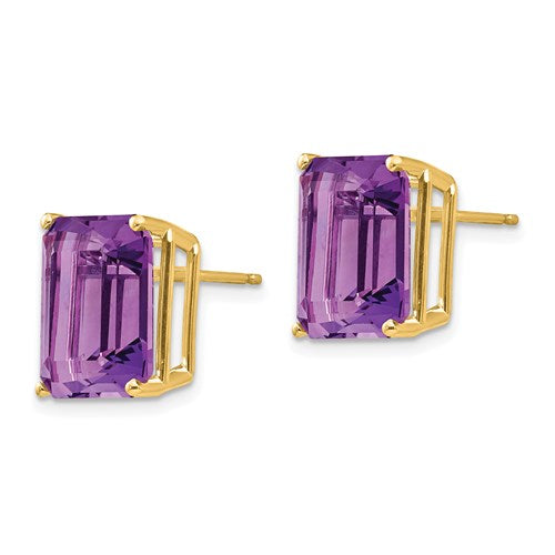 14K Emerald Cut Amethyst Earrings