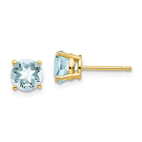 14K Round Aquamarine Stud Earrings