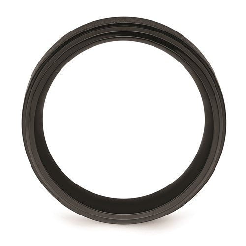 Black Zirconium Polished With Brushed Center Beveled Edge 9mm Band
