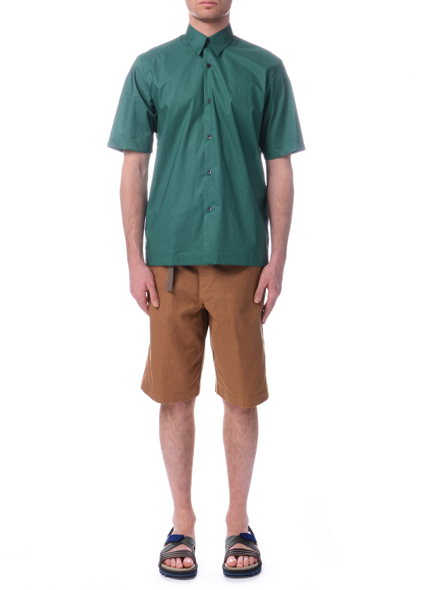 Chemise en Coton à Manches Courtes Verte|Green Cotton Short Sleeve Shirt