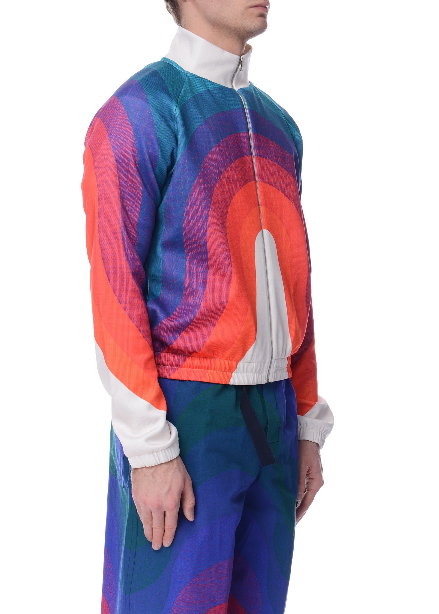 Veste à Motif de Vague Multicolore|Multicolor Wave Pattern Track Jacket