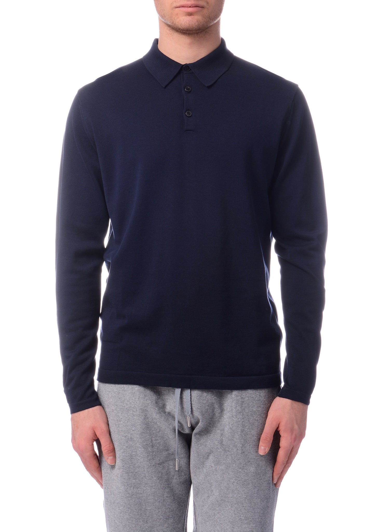 Polo Manches Longues en Maille Marine|Navy Long Sleeve Knitted Polo Shirt