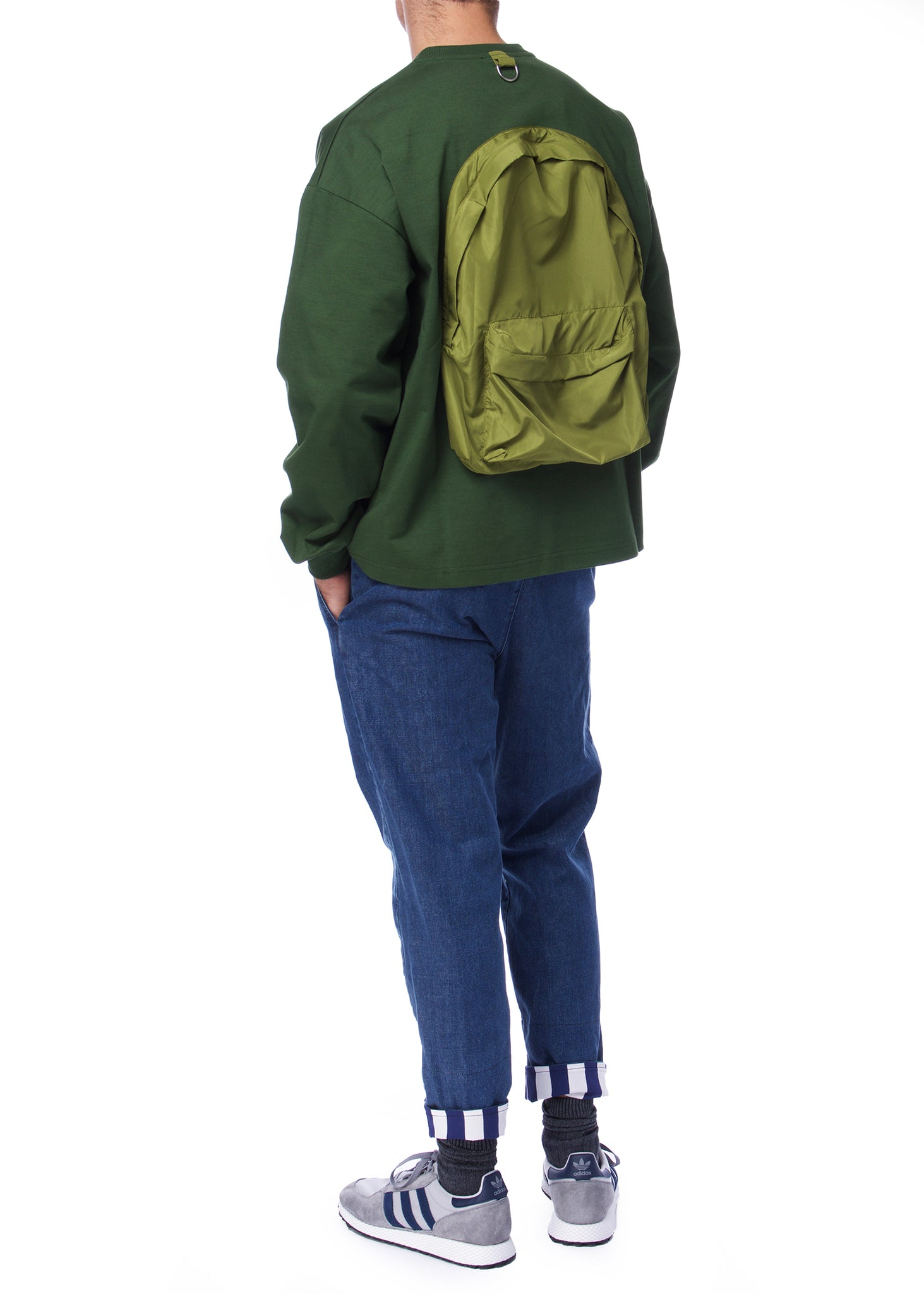 Pull à Sac à Dos Vert|Green Backpack Crewneck Sweatshirt