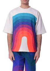 T-Shirt à Motif de Vague Multicolore|Multicolor Wave Pattern T-Shirt