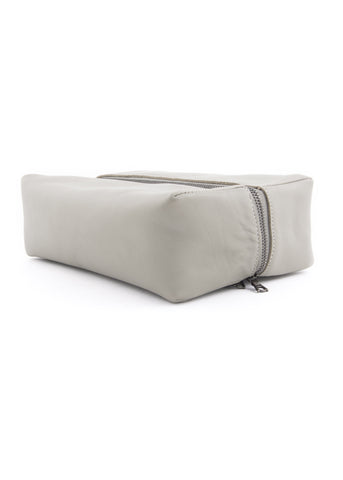Grand Sac de Toilette en Cuir Gris|Grey Leather Large Toiletry Bag