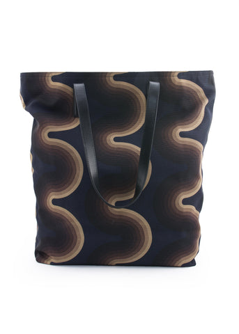 Sac à Motif de Vague Brun|Brown Wave Pattern Tote Bag