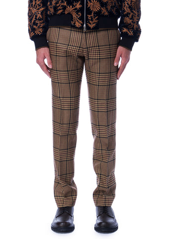 Pantalons à Carreaux en Mélange de Laine Beiges|Beige Checkered Wool-Blend Trousers