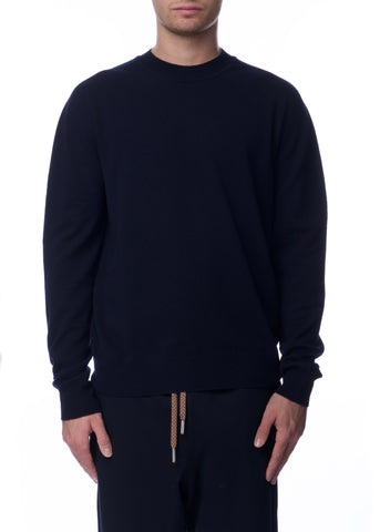 Pull Col Rond en Cachemire Marine|Navy Cashmere Crewneck Sweater