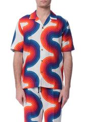 Chemise en Lin à Motif de Vague Multicolore|Multicolor Wave Pattern Linen Bowling Shirt
