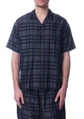 Chemise à Manches Courtes Carreautée Charcoal|Charcoal Checkered Short Sleeve Shirt
