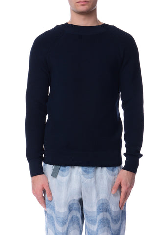 Pull à Manches Raglan Marine|Navy Raglan Sleeves Crewneck Sweater