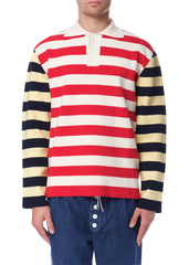 Polo en Tricot Rayé Multicolore|Multicolor Striped Knit Polo Shirt