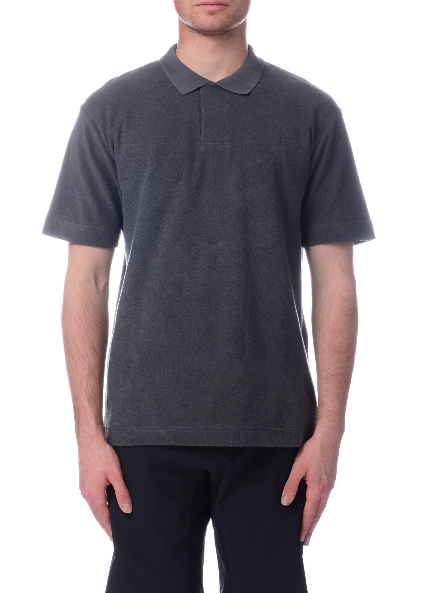 Polo en Serviette Gris Charcoal|Charcoal Cotton Towelling Polo Shirt