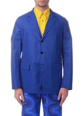 Veston Décontracté en Coton Bleu|Blue Casual Cotton Blazer