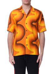 Chemise en Lin à Motif de Vague Orange|Orange Wave Pattern Linen Bowling Shirt