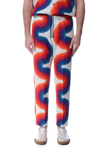 Pantalon en Lin à Motif de Vague Multicolore|Multicolor Wave Pattern Linen Trousers