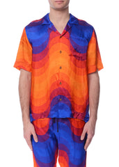 Chemise en Viscose à Motif de Vague Multicolore|Multicolor Wave Pattern Viscose Bowling Shirt