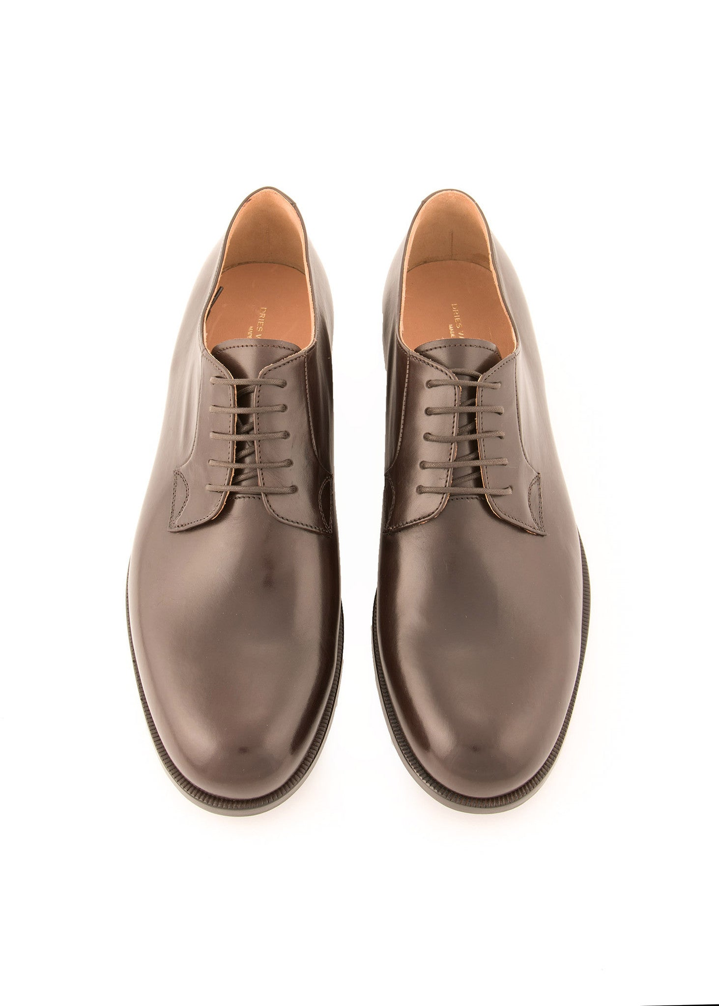 "Chaussures style ""derby"" marrons en cuir de veau