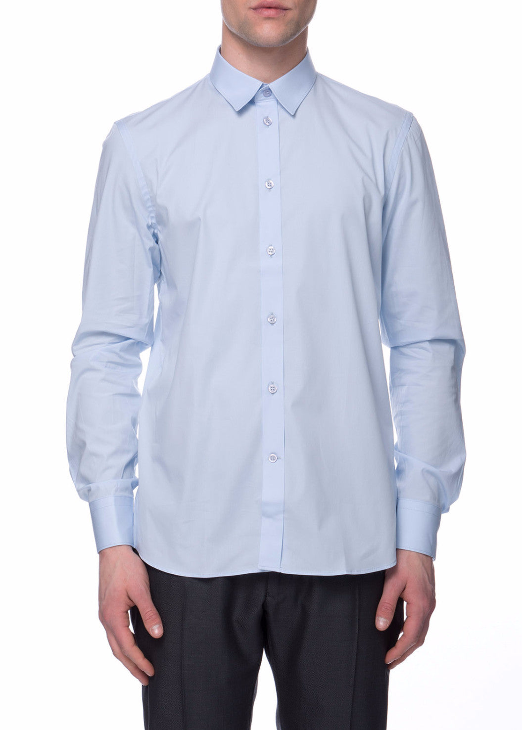 Chemise bleue Paul stretch en coton|Blue stretch shirt  Paul in cotton
