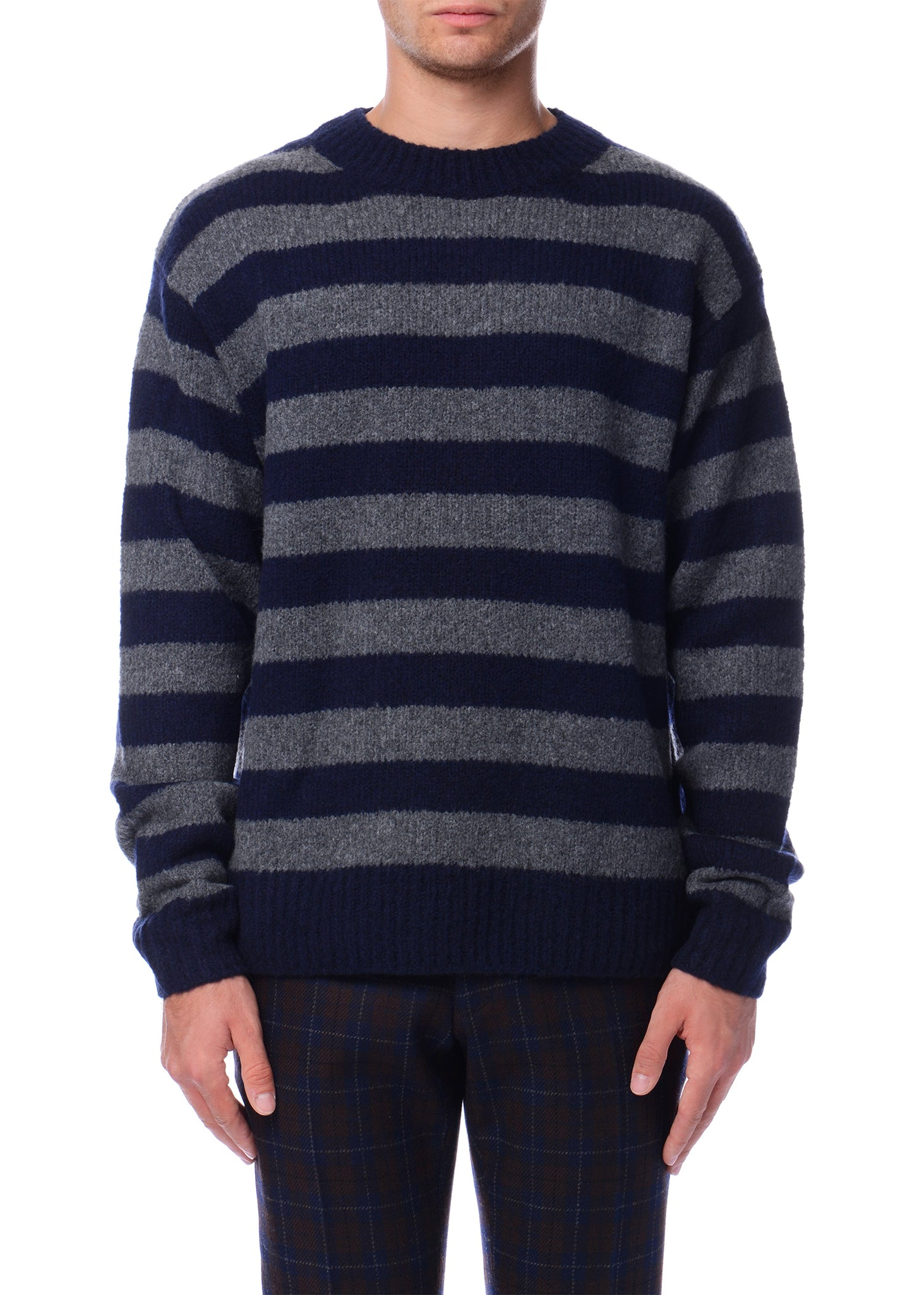 Pull à col rond rayé gris et bleu marine|Grey & Navy Striped Crewneck Sweater