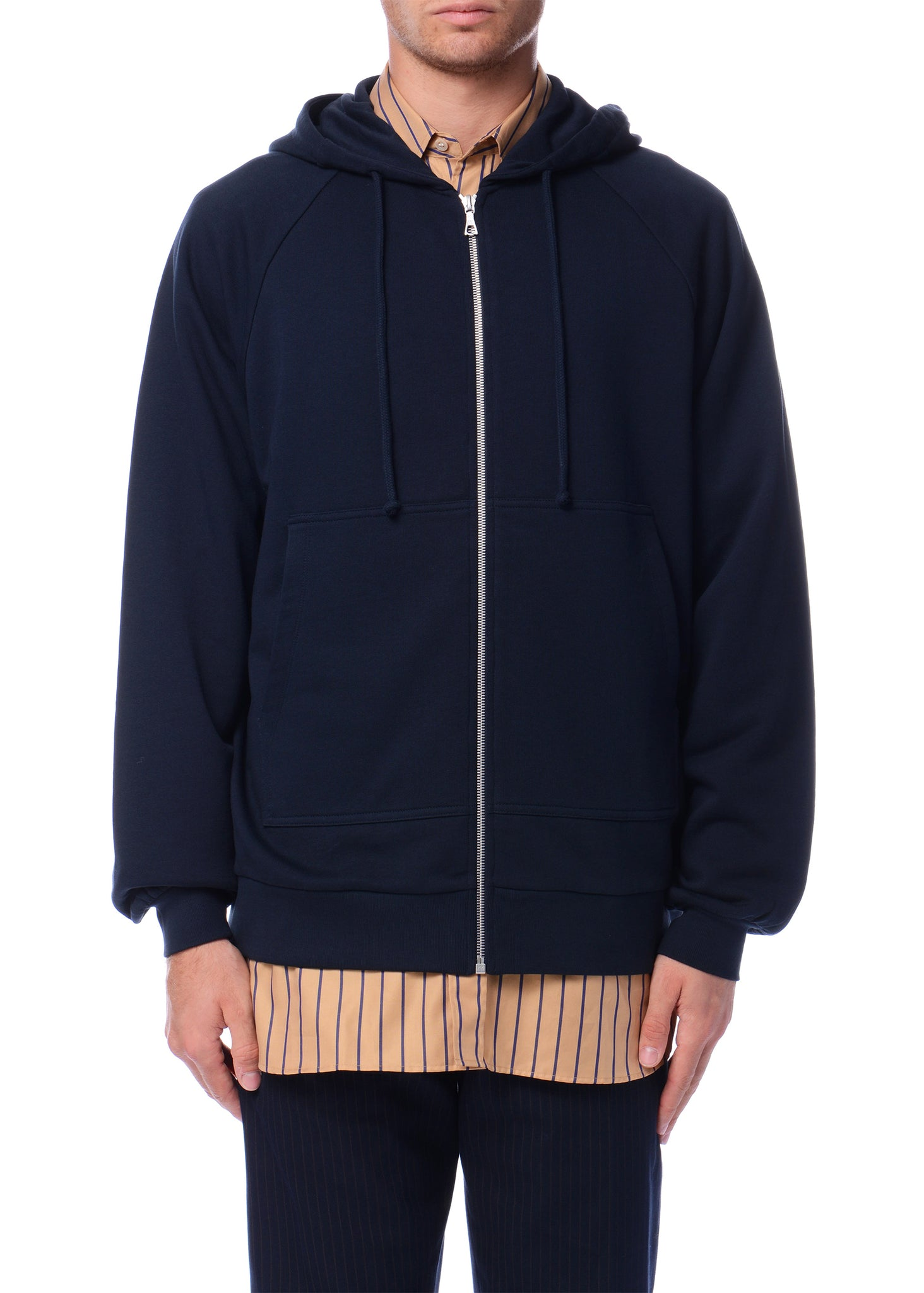 Sweat à capuche bleu marine à capuche fendue|Navy Hoodie with Split Hood