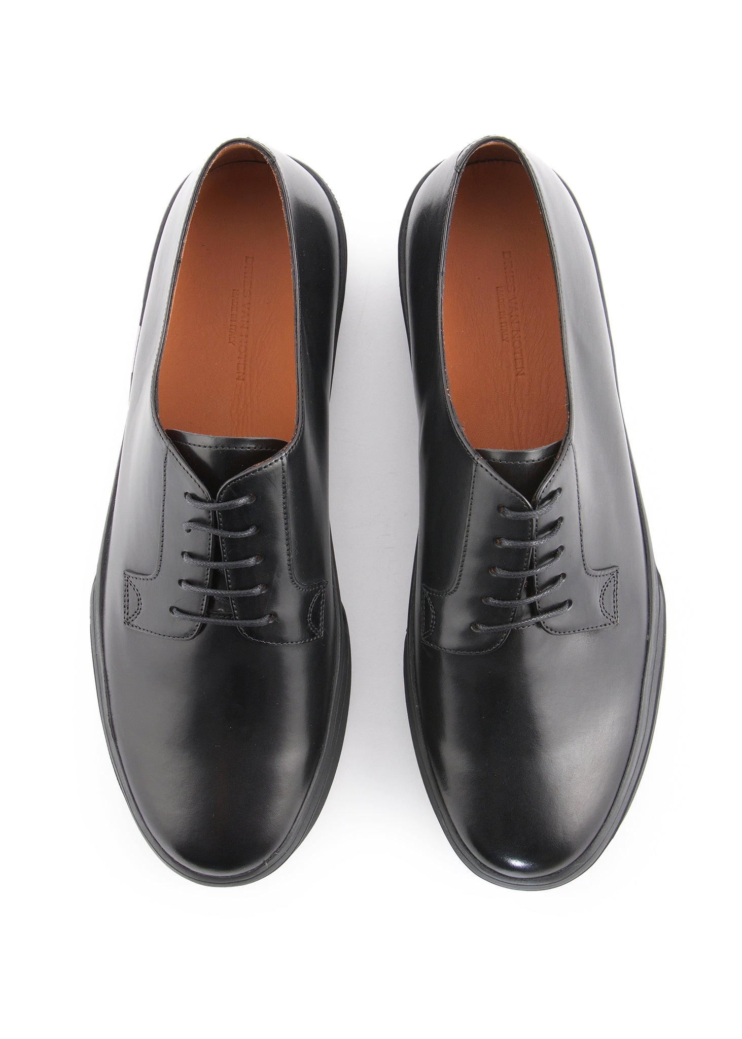 "Baskets en Cuir Poli ""Style Derby"" Noires