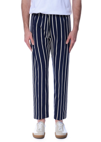 Pantalon Rayé Marine & Écru|Navy & Ecru Striped Trousers