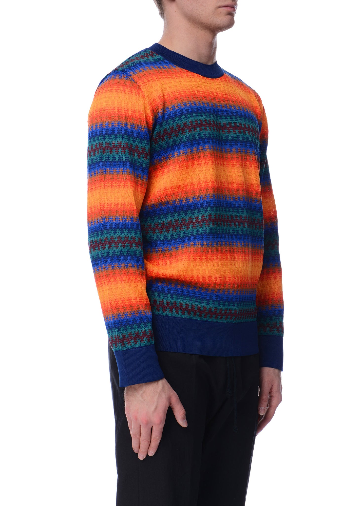 Pull Rayé en Maille Multicolore|Multicolor Striped Knitted Sweater