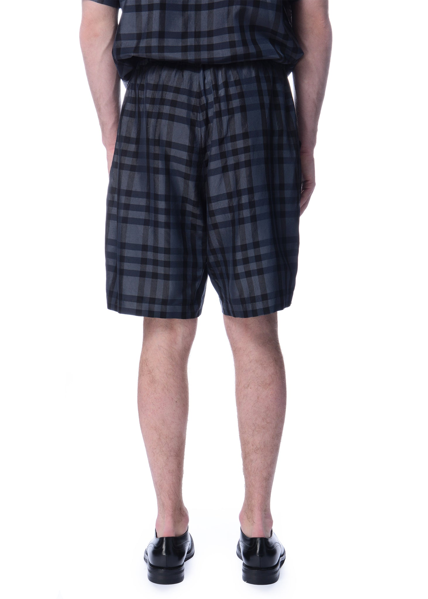 Short Ample Carreauté Charcoal|Charcoal Checkered Relaxed Shorts