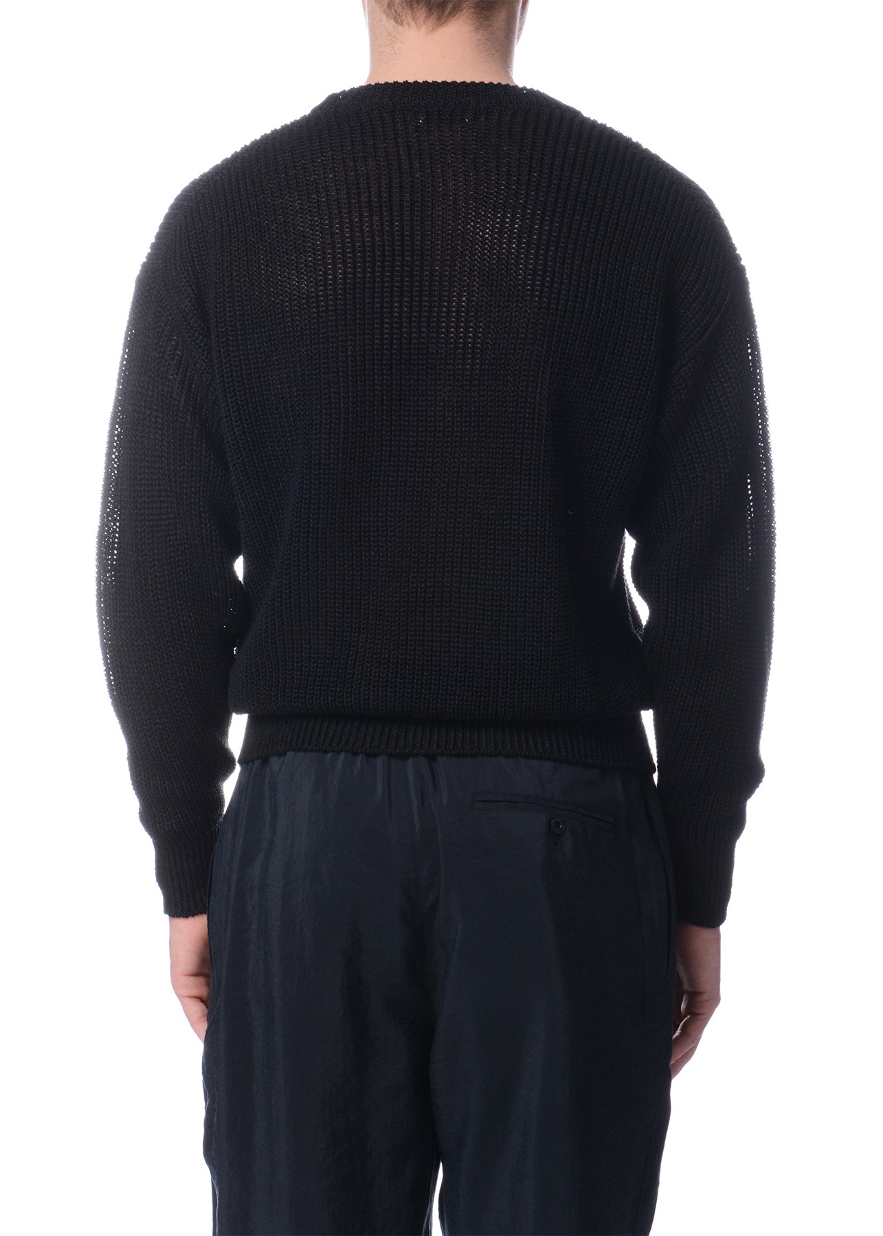 Chandail en Tricot de Lin Noir|Black Linen Knitted Sweater