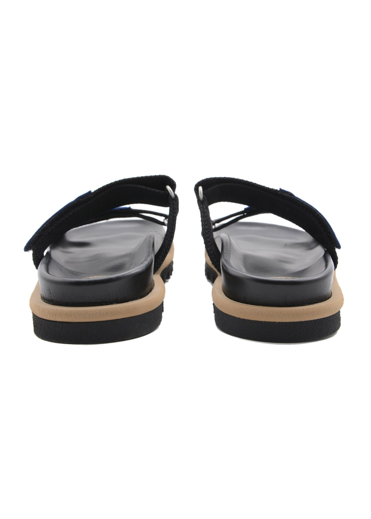 Sandale à Sangle Velcro Noire & Bleue|Black & Blue Strap Slide Sandals