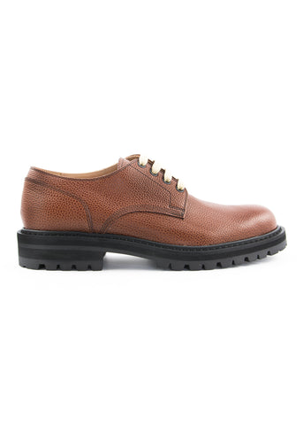Chaussures cognac en cuir texturé|Cognac grain leather shoes