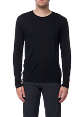 T-shirt FRAME à manches longues en laine noir|Black FRAME long sleeves wool t-shirt