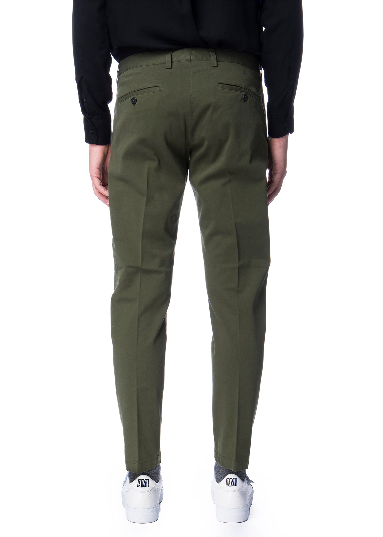 Pantalon chino vert en coton|Green chino pants in cotton