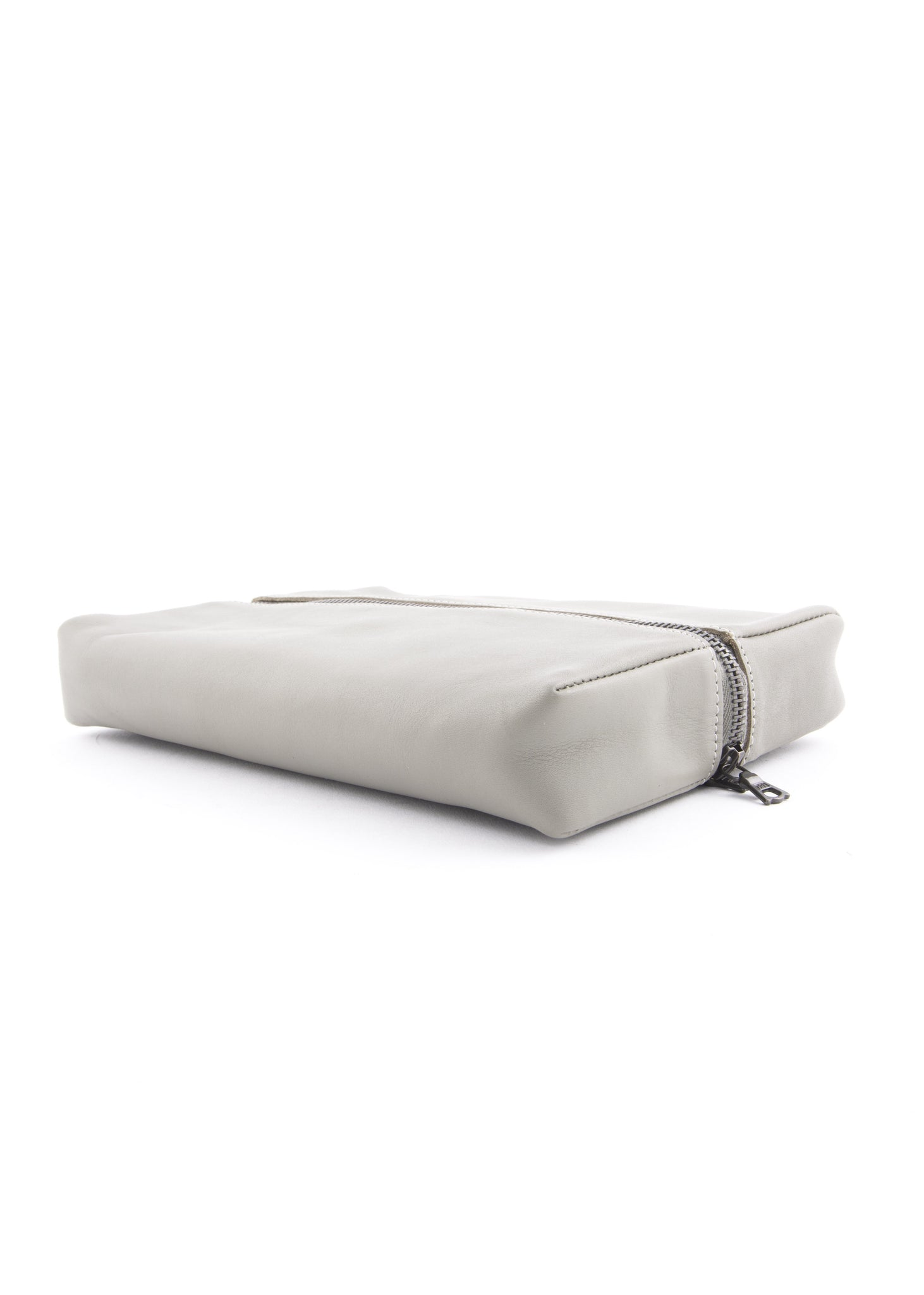 Petit Sac de Toilette en Cuir Gris|Grey Leather Small Toiletry Bag