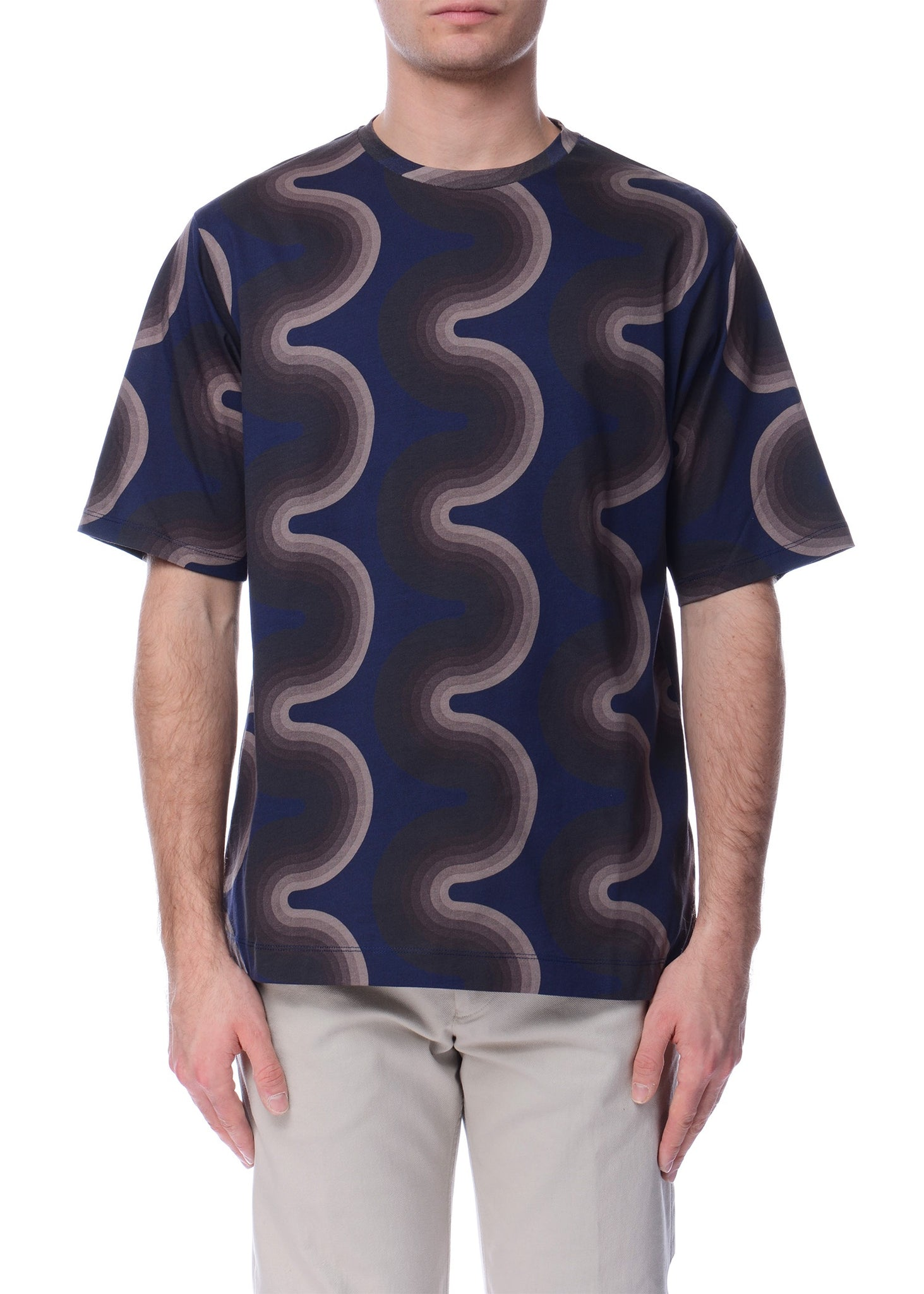 T-Shirt à Motif de Vague Brun|Brown Wave Pattern T-Shirt