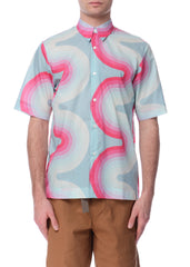 Chemise en Coton à Motif de Vague Rose|Pink Wave Pattern Cotton Shirt