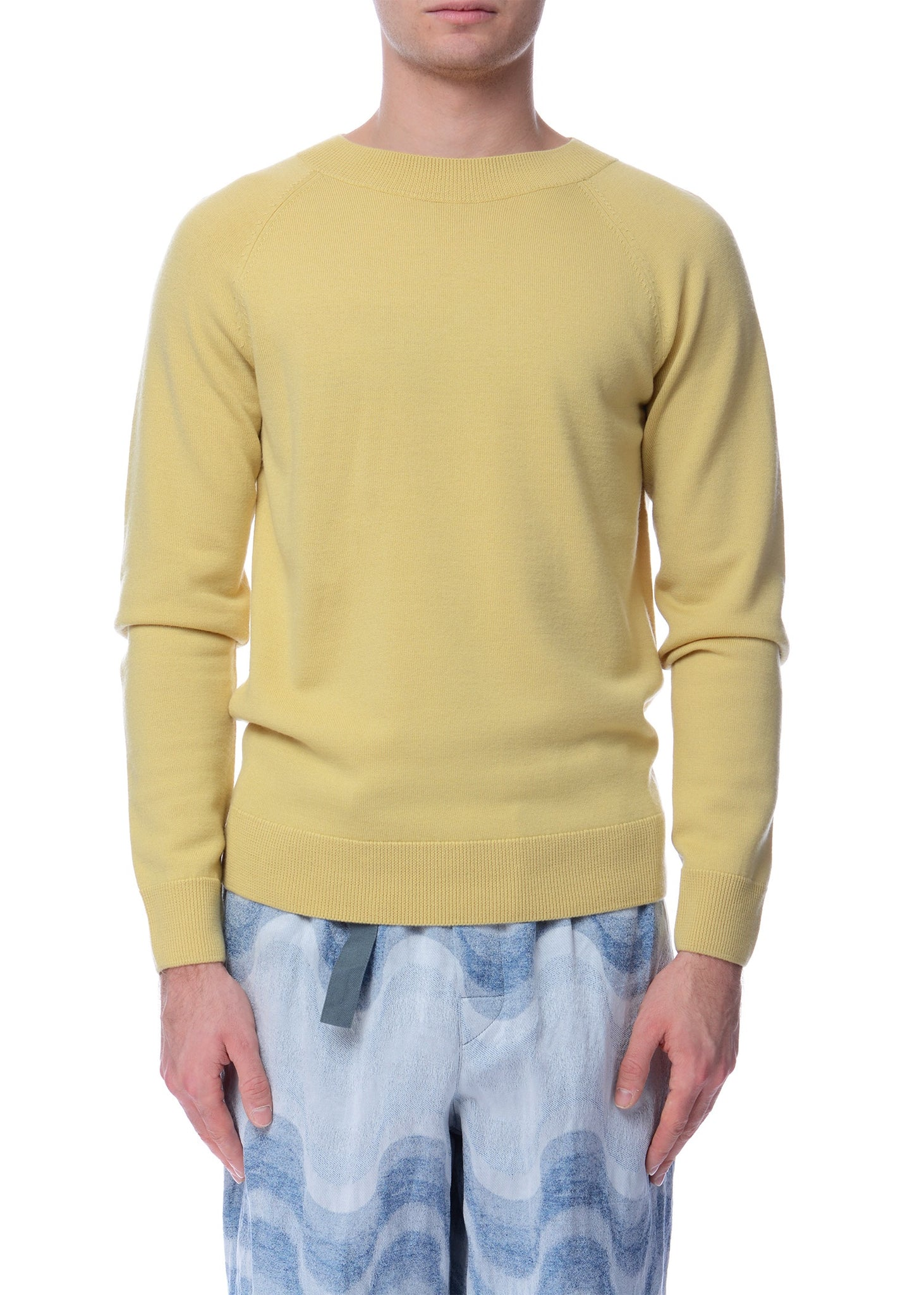 Pull à Manches Raglan Jaune|Yellow Raglan Sleeves Crewneck Sweater