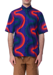 Chemise en Coton à Motif de Vague Multicolore|Multicolor Wave Pattern Cotton Shirt