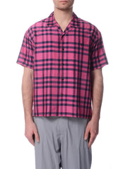 Chemise à Manches Courtes Carreautée Rose|Pink Checkered Short Sleeve Shirt
